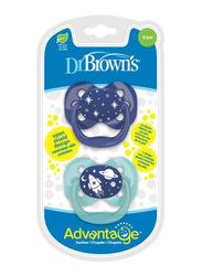 Dr. Browns 2-Piece Advantage Pacifier Set, Stage 1, 0-6 Months, Space, Blue