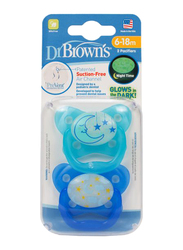 Dr. Browns 2-Piece PreVent Glow In The Dark Butterfly Shield Pacifier Set, Stage 2, 6-12 Months, Blue