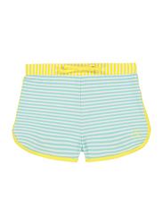 Ki Et La Screech Polyester/Lycra Baby Girl Short, Stripe, Size 3, 18 Months, Yellow/Green/White