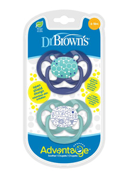 Dr. Browns 2-Piece Advantage Pacifier Set, Stage 2, 6-12 Months, Chemistry, Blue