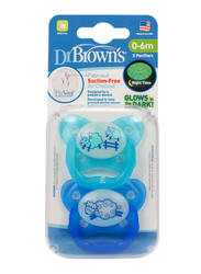Dr. Browns 2-Piece PreVent Glow In The Dark Butterfly Shield Pacifier Set, Stage 1, 0-6 Months, Blue
