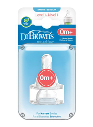 Dr. Browns 2-Piece Options+ Level 1 Silicone Narrow Bottle Nipple Set, Clear