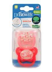 Dr. Browns 2-Piece PreVent Glow In The Dark Butterfly Shield Pacifier Set, Stage 1, 0-6 Months, Pink