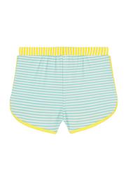Ki Et La Screech Polyester/Lycra Baby Girl Short, Stripe, Size 2, 12 Months, Yellow/Green/White