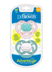 Dr. Browns 2-Piece Advantage Pacifier Set, Stage 2, 6-12 Months, Airplanes, Pink