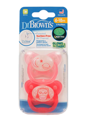 Dr. Browns 2-Piece PreVent Glow In The Dark Butterfly Shield Pacifier Set, Stage 2, 6-12 Months, Pink