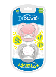 Dr. Browns 2-Piece Advantage Pacifier Set, Stage 1, 0-6 Months, Stars, Pink