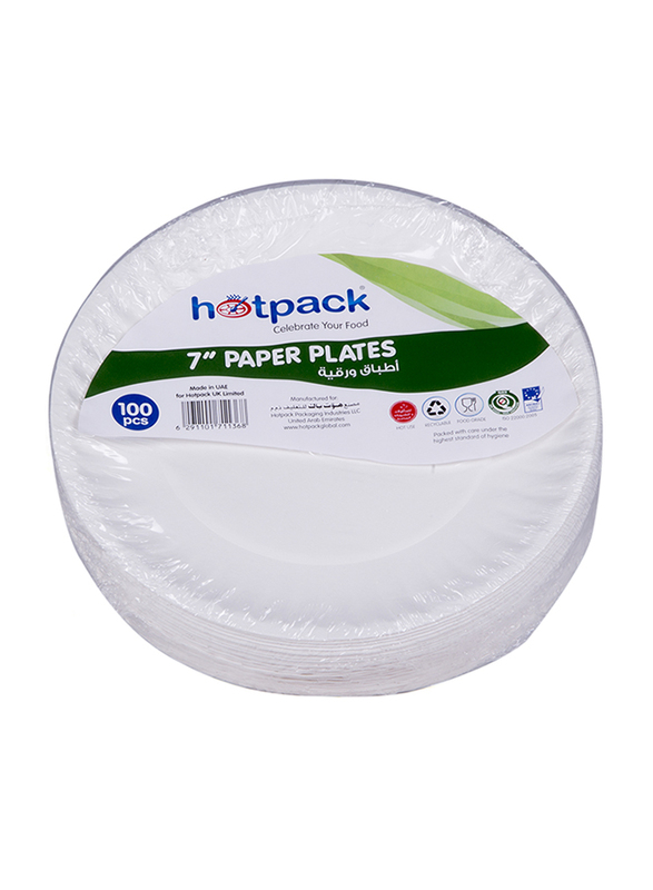 Hotpack 7-inch 100-Piece Paper Round Plate Set, PP9, White