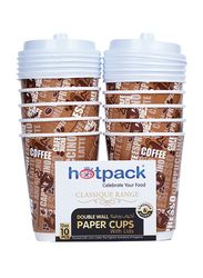 Hotpack 12oz 10-Piece Double Wall Paper Cup with Lid Set, HSMDWPC12, Brown