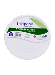 Hotpack 9-inch 100-Piece Paper Round Plate Set, PP9, White