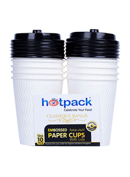 Hotpack 12oz 10-Piece Embossed Paper Cup with Lid Set, HSMEPC12C, White