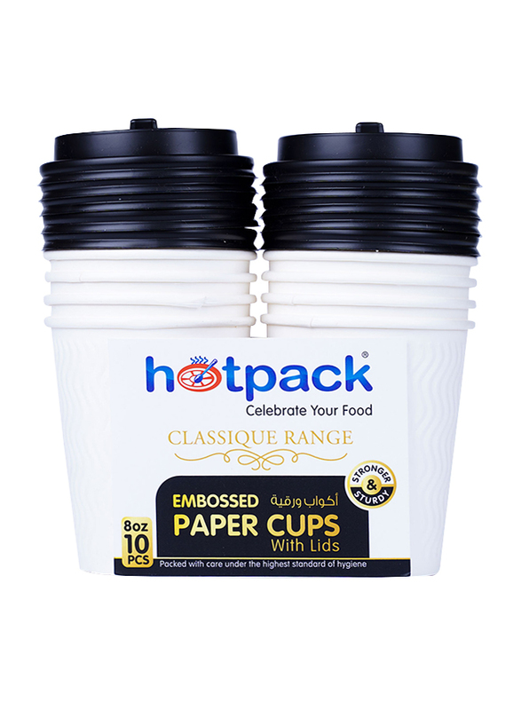 Hotpack 8oz 10-Piece Embossed Paper Cup with Lid Set, HSMEPC8C, White