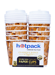 Hotpack 8oz 10-Piece Double Wall Paper Cup with Lid Set, HSMDWPC8C, Brown
