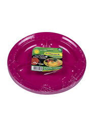 Hotpack 10-inch 25-Piece Plastic Round Plate Set, 3 Compartment, CPP10/3C, Multicolor