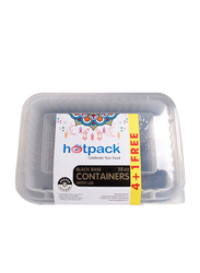 Hotpack 5-Piece 38oz Black Base Microwave Rectangle Container, OPBB83884B1F, Clear