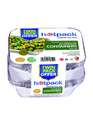 Hotpack 20-Piece Aluminum Rectangle Food Storage Container 420cc Twin Pack, with Lid, OPHSM8342TP, Silver