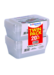 Hotpack 10-Piece Microwave Rectangle Container 750cc Twin Pack, with Lid, OPMP750TP, Clear