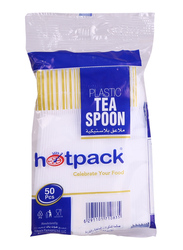 Hotpack 50-Piece Plastic Tea Spoon, TSP50HP, White