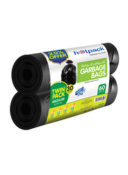 Hotpack Roll Garbage Bag Twin Pack, Medium, 60 Bags x 30 Gallons