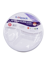 Hotpack 10-inch 25-Piece Foam Round Plate Set, 3 Compartment, RFP103B, White
