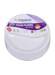 Hotpack 7-inch 25-Piece Foam Round Plate Set, RFP7PKT, White