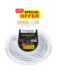 Hotpack 10-Piece Crystal Round Serving Plates Combo Pack, CPHSMCP33CP27, Clear