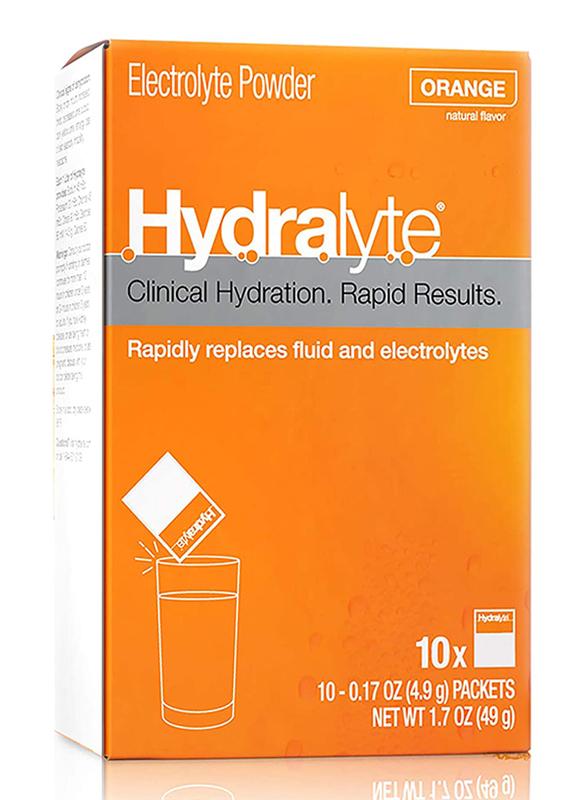 Hydralyte Electrolyte Powder Orange Flavour, 10 Packets x 10g
