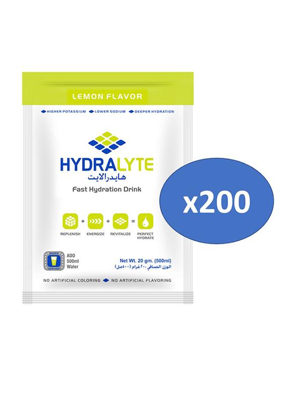 Hydrolyte Lemon Flavor Electrolyte Powder Hydration Drink Mix, 200 Sachets x 20g