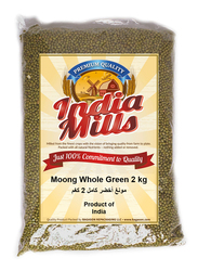 India Mills Moong Whole Green, 2 Kg