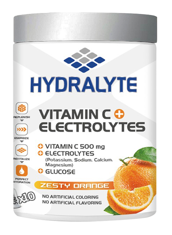 Hydralyte Zesty Orange Flavor Vitamin C + Electrolyte Powder Sports Drink Mix Jar, 200g