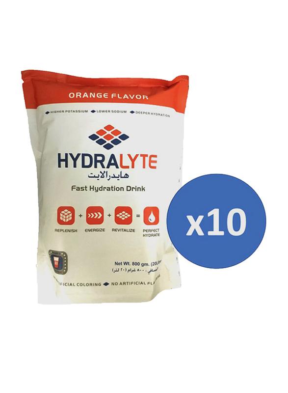 Hydralyte Electrolyte Powder Orange Flavour, 10 Packets x 800g