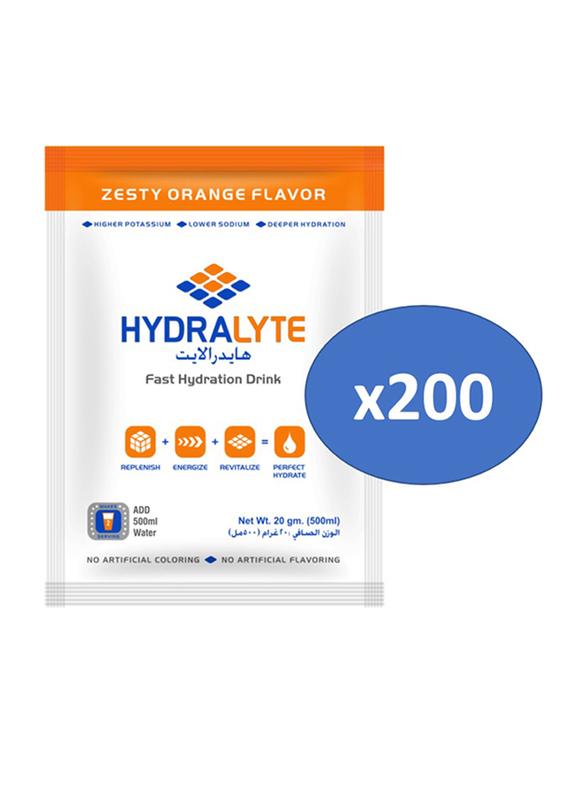 Hydrolyte Orange Flavor Electrolyte Powder Hydration Drink Mix, 200 Sachets x 20g