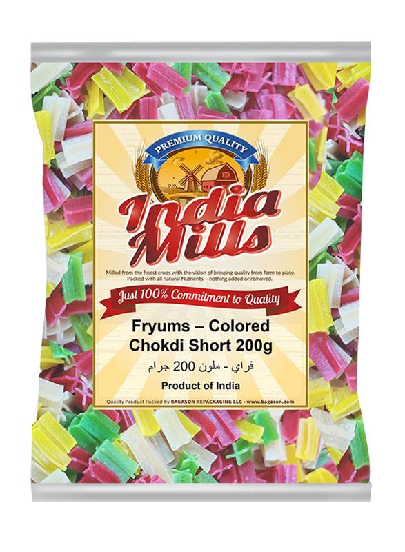 India Mills Fryums Colored Chokdi Short, 200g