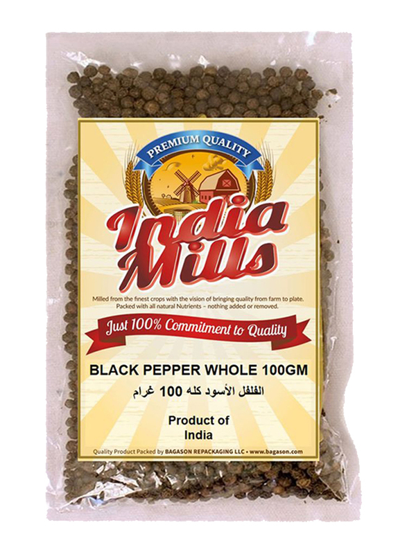 India Mills Black Pepper Whole, 100g
