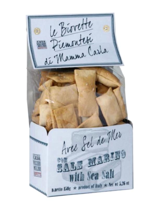 Casa Vecchio Mulino Biovette Piemontesi Italian Mini Flat Bread with Sea Salt, 150g