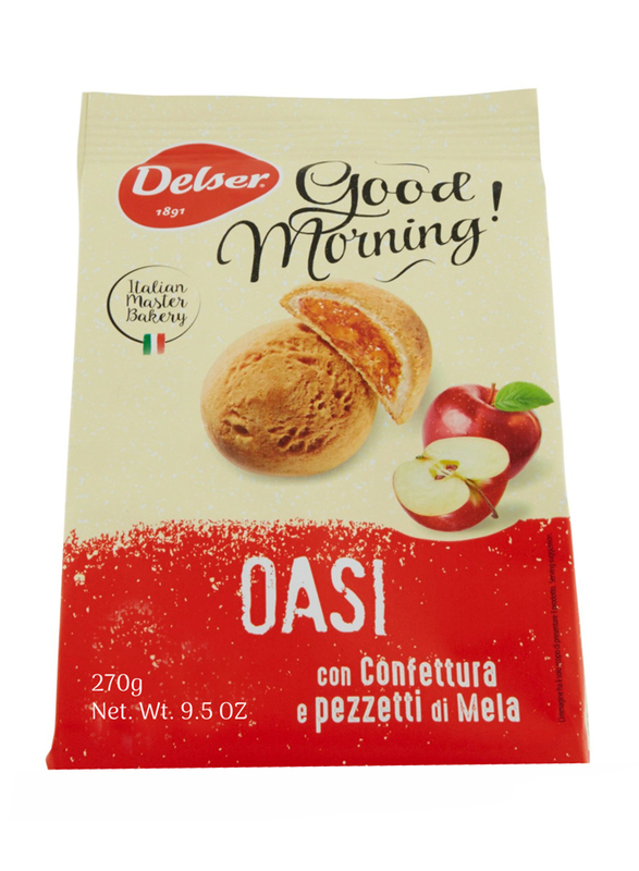 Delser 1891 Oasi Italian Biscuit Cookies Filled with Apple Jam and Pieces, 270g