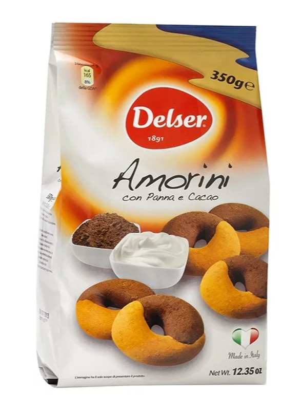 Delser 1891 Amorini Italian Biscuits Cookies Frollini with Cream and Cacao, 350g