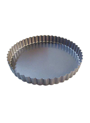 De Buyer 28cm Non-Stick Round Fluted Tart Mould Cake Pan, 435gm, 4705.28, Silver