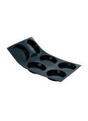 De Buyer 8.5 cm MoulFlex Silicone 6 Tartlet Molds Tray, 1978.01, 30x20x1.5 cm, Black
