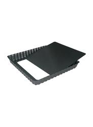 De Buyer 18cm Non-Stick Square Loose Base Fluted Tart Mould Cake Pan, 4709.18, 18x18x2.7 cm, Black