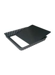 De Buyer 23cm Non-Stick Square Loose Base Fluted Tart Mould Cake Pan, 4709.23, 23x23x2.7 cm, Black