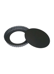 De Buyer 32cm Non-Stick Round Loose Base Fluted Tart Mould Cake Pan, 4706.32, 32x3 cm, Silver