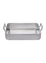 De Buyer 50cm Choc Aluminum Roasting Pan with 2 Fixed Handle, 7664.50, 50x40x9 cm, Silver
