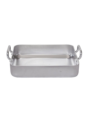 De Buyer 55cm Choc Aluminum Roasting Pan with 2 Fixed Handle, 7664.55, 55x45x9 cm, Silver