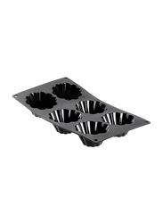 De Buyer 30cm Moul'Flex Silicone 6 Small Brioch Moulds Baking Tray, 30x17.5 cm, Black