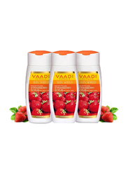 Vaadi Herbals Organic Strawberry Scrub Moisturizing Lotion, with Walnut Grains, 110ml, 3 Pieces
