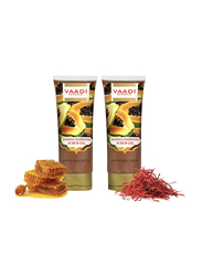 Vaadi Herbals Papaya Fairness Organic Scrub Gel, with Honey & Saffron, 110gm, 2 Pieces