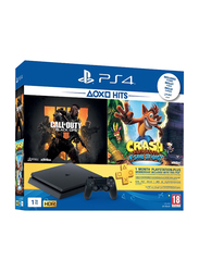 Sony PlayStation 4 Console, 1TB, with 1 Controller and 2 Games (Call Of Duty Black Ops 4 and Crash Bandicoot N-Sane Trilogy) and 1 Month PSN Subscription, Black
