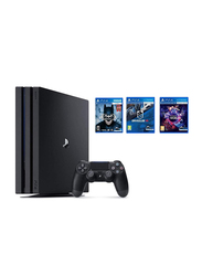 Sony PlayStation 4 Pro Console, 1TB, with 1 Controller and 3 PSVR Games Bundle (Batman: Arkham VR, Driveclub VR and PlayStation VR Worlds), Black