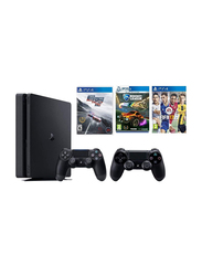 Sony PlayStation 4 Console, 500GB, with 2 Controllers and 3 Games (Need Speed For Rivals, Rocket League, Fifa 17), Black